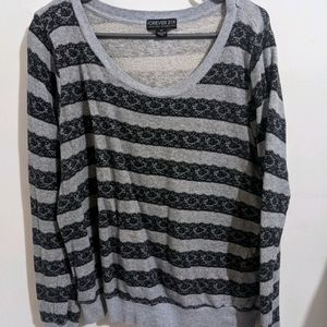 FOREVER 21 GREY LACE SWEATER XXL
